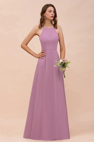 BMbridal Gorgeous Halter Wisteria Chiffon Bridesmaid Dresses with Draped Back_1