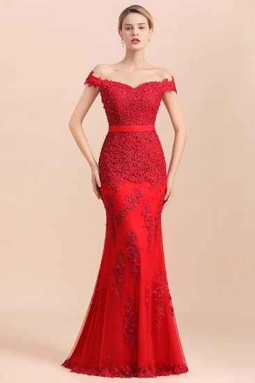 Elegant Mermaid Off the Shoulder Red Lace Appliques Bridesmaid dresses_1