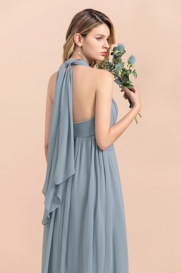 Affordable Dusty Blue Ruffle Convertible Bridemsiad Dress_12