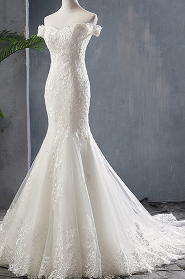 BMbridal Glamorous Off-the-shoulder Mermaid Appliques Wedding Dresses Lace Tulle White Bridal Gowns On Sale_4