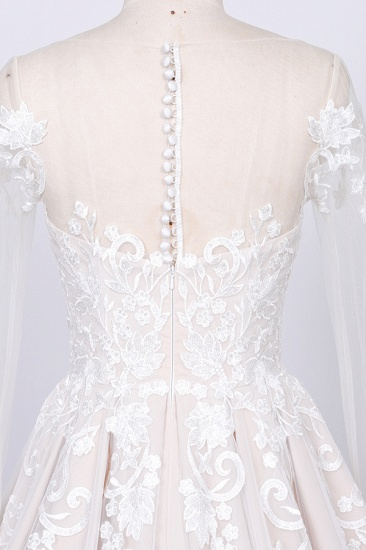 Gorgeous Longsleeves Jewel A-line Wedding Dresses White Appliques Lace Bridal Gowns On Sale_4