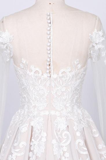 BMbridal Gorgeous Longsleeves Jewel A-line Wedding Dresses White Appliques Lace Bridal Gowns On Sale_4