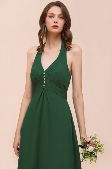 Affordable Halter Beading Ruffle Dark Green Bridesmaid Dress With Shawl_9