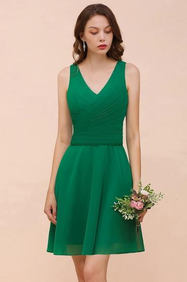 Affordable V-Neck Sleeveless Ruffle Short Bridesmaid Dress_8