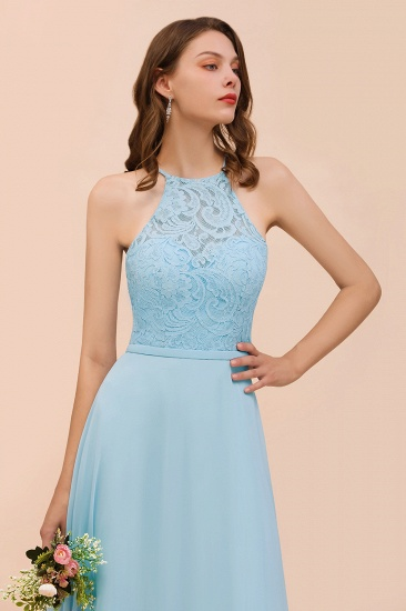 Chic Halter Sleeveless Affordable Sky Blue Bridesmaid Dress with Lace_8