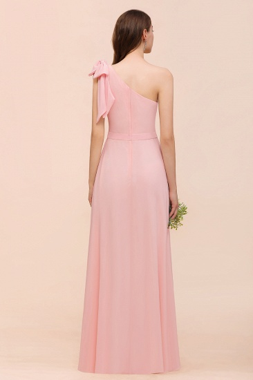 Chic One Shoulder Sleeveless Pink Chiffon Bridesmaid Dress with Bow_3