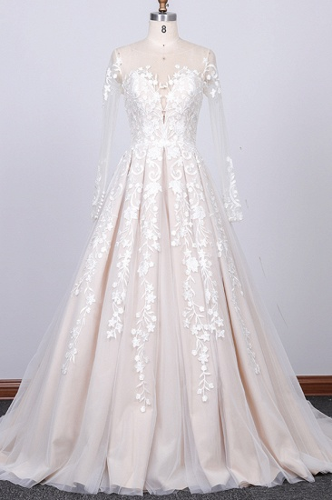 Gorgeous Longsleeves Jewel A-line Wedding Dresses White Appliques Lace Bridal Gowns On Sale_1