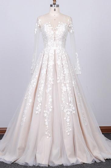 BMbridal Gorgeous Longsleeves Jewel A-line Wedding Dresses White Appliques Lace Bridal Gowns On Sale_1