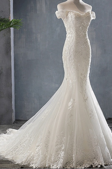 BMbridal Glamorous Off-the-shoulder Mermaid Appliques Wedding Dresses Lace Tulle White Bridal Gowns On Sale_5
