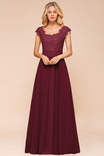 BMbridal Elegant Long Chiffon Prom Dress With Lace Appliques On Sale_12