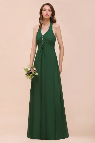 Affordable Halter Beading Ruffle Dark Green Bridesmaid Dress With Shawl_6