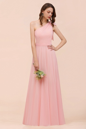 Chic One Shoulder Sleeveless Pink Chiffon Bridesmaid Dress with Bow_8
