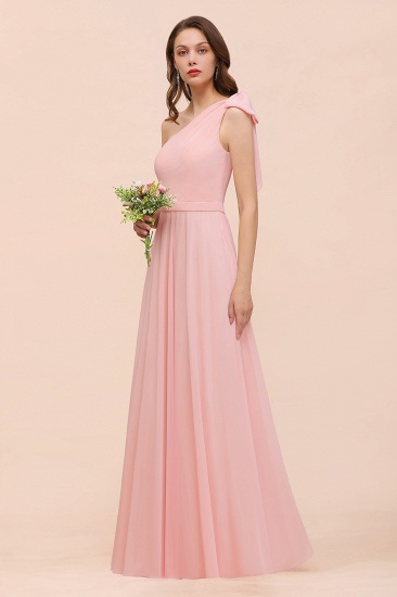 Chic One Shoulder Sleeveless Pink Chiffon Bridesmaid Dress with Bow_1