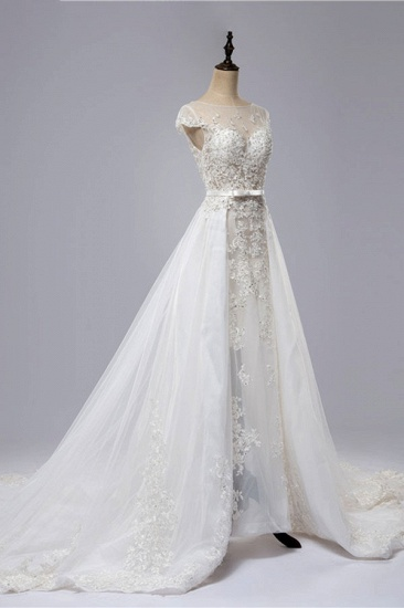 BMbridal Glamorous Shortsleeves Jewel Appliques Wedding Dresses A-line Tulle Lace Bridal Gowns On Sale_4