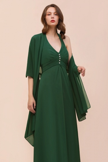 BMbridal Affordable Halter Beading Ruffle Dark Green Bridesmaid Dress With Shawl_8