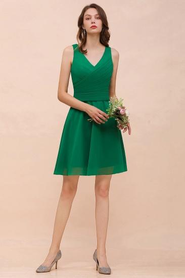 Affordable V-Neck Sleeveless Ruffle Short Bridesmaid Dress_4