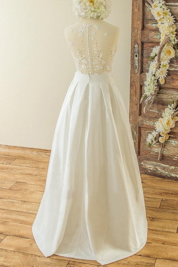 BMbridal Affordable Sleeveless Straps Jewel Wedding Dresses Satin Appliques Lace Bridal Gowns On Sale_3