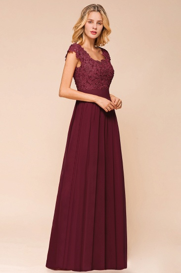 BMbridal Elegant Long Chiffon Prom Dress With Lace Appliques On Sale_11