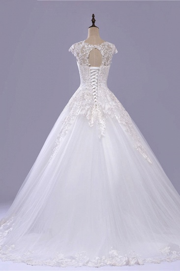 BMbridal Gorgeous V-neck A-line Tulle Wedding Dresses Appliques White Shortsleeves Bridal Gowns On Sale_3