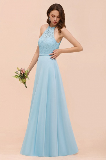 Chic Halter Sleeveless Affordable Sky Blue Bridesmaid Dress with Lace_7