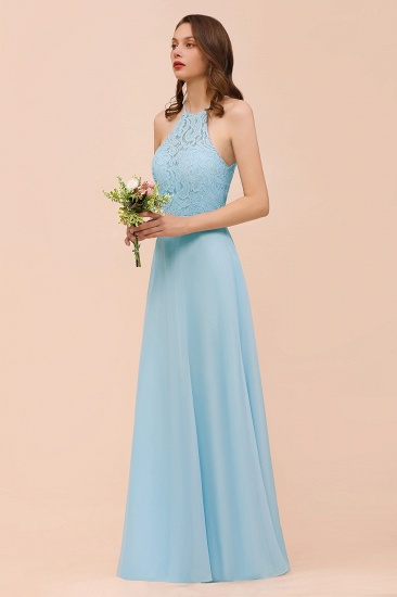 Chic Halter Sleeveless Affordable Sky Blue Bridesmaid Dress with Lace_4