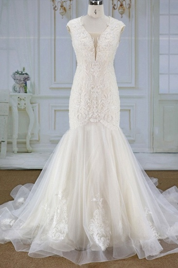 Elegant Mermaid Appliques Straps Wedding Dresses Sleeveless Champagne Tulle Bridal Gowns On Sale_1
