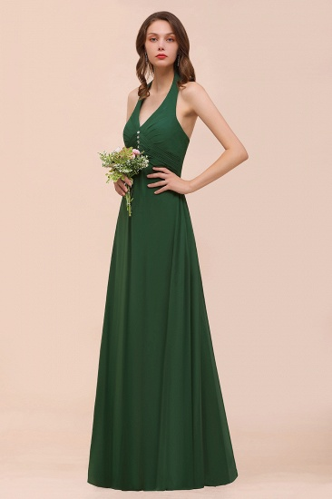 BMbridal Affordable Halter Beading Ruffle Dark Green Bridesmaid Dress With Shawl_4
