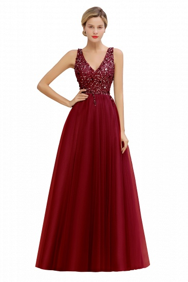 BMbridal Glamorous V-Neck Sleeveless Prom Dress Long Tulle Evening Gowns With Crystals_2