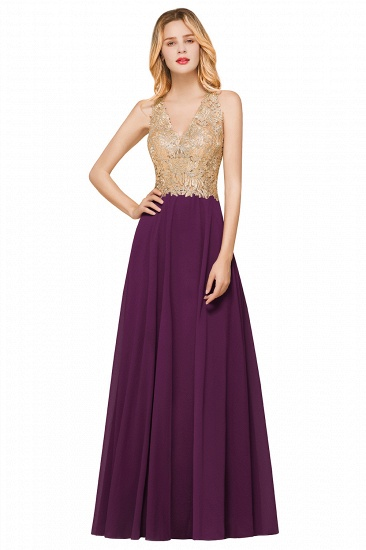 BMbridal Gorgeous V-Neck Burgundy Prom Dress Long Sleeveless Evening Gowns With Appliques_3