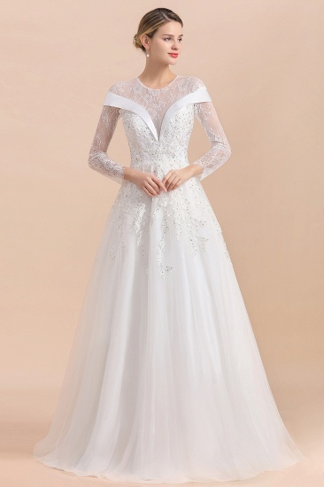 Gorgeous Long Sleeve Lace Wedding Dress Online Appliques Bridal Gowns With Beadings_4