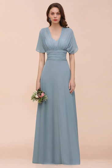 New Arrival Dusty Blue Ruched Long Convertible Bridesmaid Dresses_56