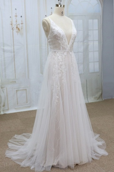 Sexy V-neck Straps Sleeveless Wedding Dresses Lace Appliques Tulle Bridal Gowns On Sale_4