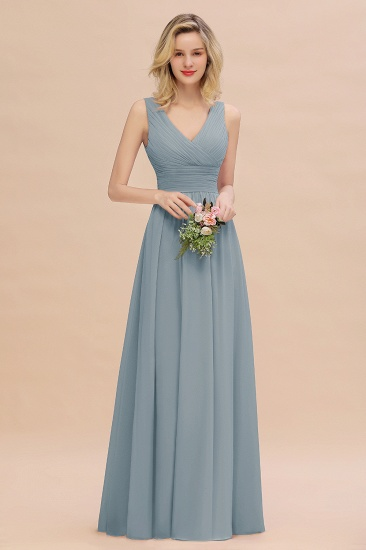 BMbridal Elegant V-Neck Dusty Rose Chiffon Bridesmaid Dress with Ruffle_40