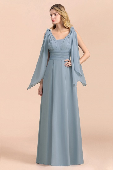 Affordable Dusty Blue Ruffle Convertible Bridemsiad Dress_9