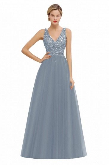 BMbridal Glamorous V-Neck Sleeveless Prom Dress Long Tulle Evening Gowns With Crystals_6