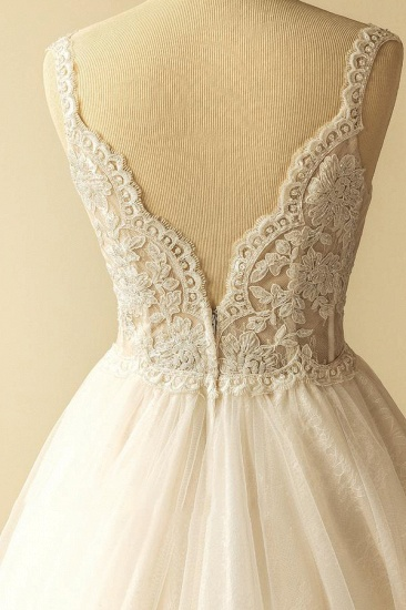Gorgeous Straps Sleeveless Tulle Wedding Dresses A-line Appliques Lace Bridal Gowns On Sale_5