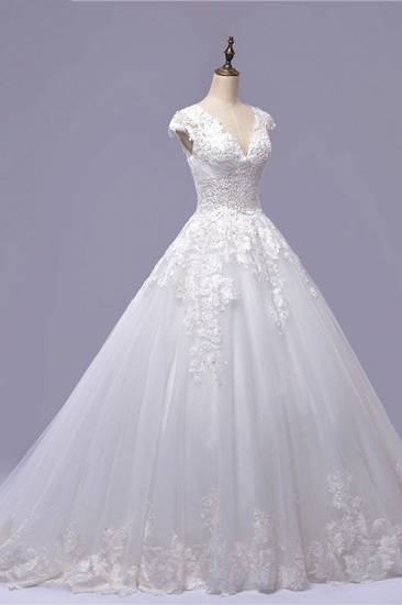 BMbridal Gorgeous V-neck A-line Tulle Wedding Dresses Appliques White Shortsleeves Bridal Gowns On Sale_4
