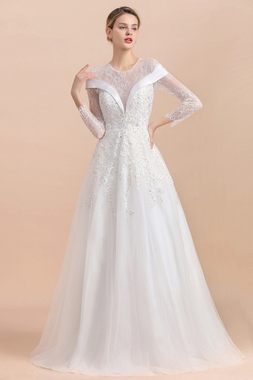 Gorgeous Long Sleeve Lace Wedding Dress Online Appliques Bridal Gowns With Beadings_5