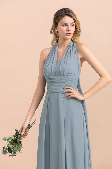 Affordable Dusty Blue Ruffle Convertible Bridemsiad Dress_11