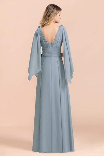 Affordable Dusty Blue Ruffle Convertible Bridemsiad Dress_10
