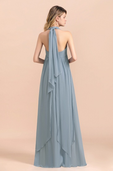 Affordable Dusty Blue Ruffle Convertible Bridemsiad Dress_3
