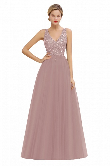 BMbridal Glamorous V-Neck Sleeveless Prom Dress Long Tulle Evening Gowns With Crystals_1