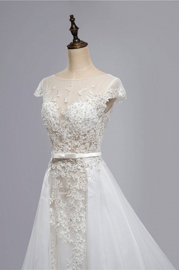 BMbridal Glamorous Shortsleeves Jewel Appliques Wedding Dresses A-line Tulle Lace Bridal Gowns On Sale_7