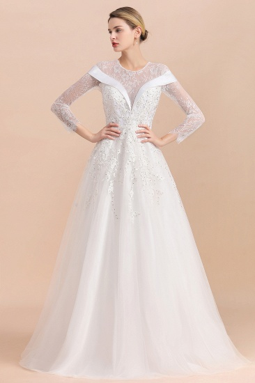 Gorgeous Long Sleeve Lace Wedding Dress Online Appliques Bridal Gowns With Beadings_10