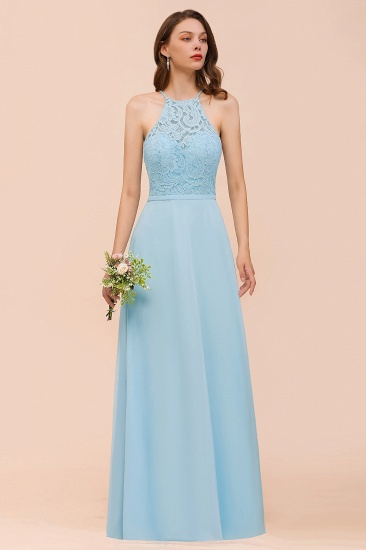 Chic Halter Sleeveless Affordable Sky Blue Bridesmaid Dress with Lace_6