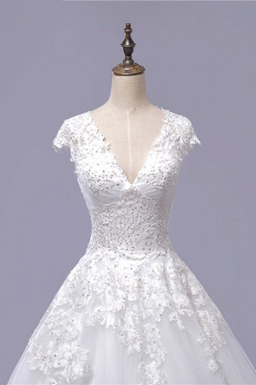 BMbridal Gorgeous V-neck A-line Tulle Wedding Dresses Appliques White Shortsleeves Bridal Gowns On Sale_5