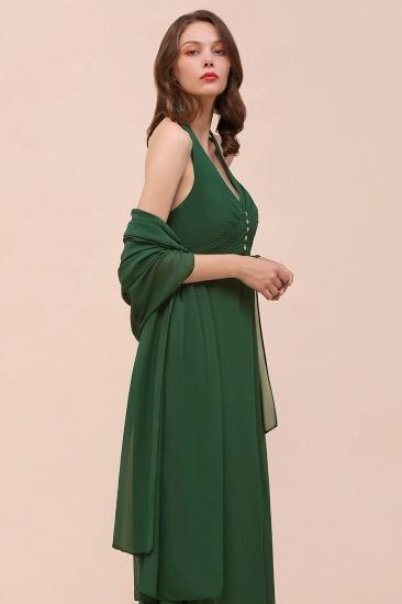 Affordable Halter Beading Ruffle Dark Green Bridesmaid Dress With Shawl_5