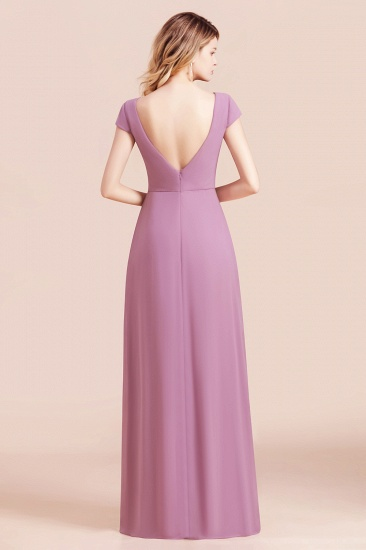 Chic V-Neck Chiffon Wisteria Bridesmaid Dresses with Short Sleeves_3