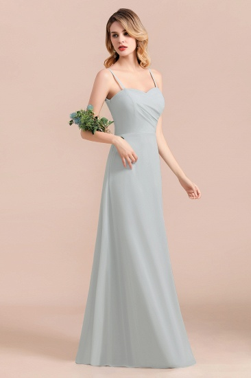 Mist Spaghetti-Straples Long Chiffon Bridesmaid Dresses Online_6