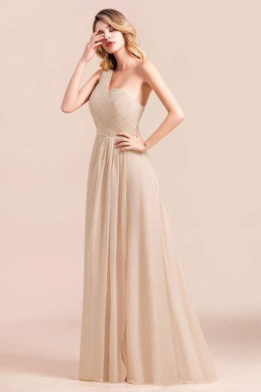 Chic One Shoulder Ruffle Champagne Chiffon Bridesmaid Dress_7